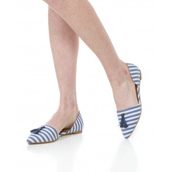 Caroline Flat - Washed Navy/White Stripe